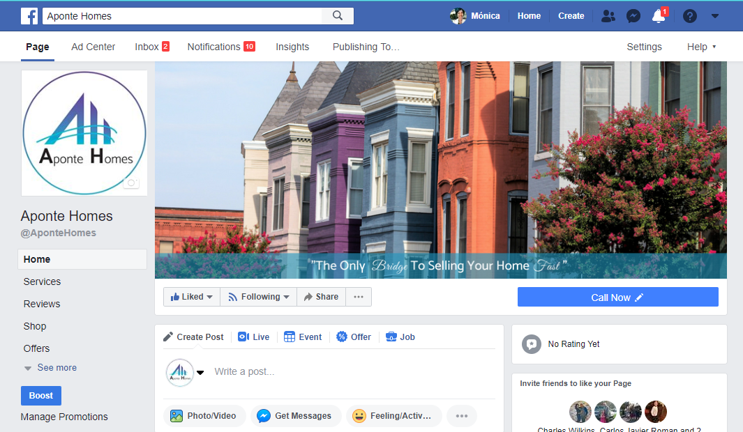 Branded Facebook Page for Aponte Homes